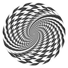 Abstract Round Spiral Striped Design Element