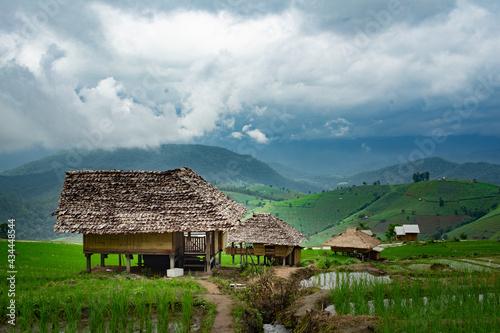 Fotografiet Houses On Field By Buildings Against Sky