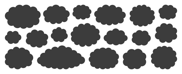 Black flat vector cloud set. Clouds cartoon symbols on white background for web site design, logo, app. Bubble icon collection for infographic design. Label and stickers