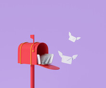 3D Red Mailbox With Flying Envelope, Mail Delivery, And Newsletter Concept. 3d Render Illustration