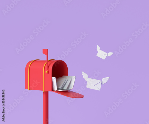 Fotografie, Obraz 3D Red mailbox with flying envelope, mail delivery, and newsletter concept