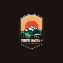 Emblem Patch Logo Illustration Of Mount Rainier National Park On Dark Background