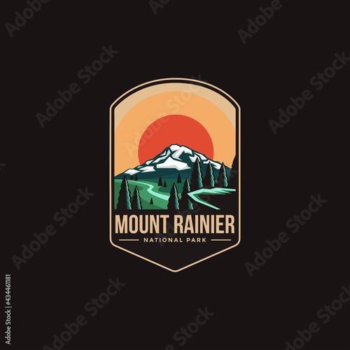 Fotografiet Emblem patch logo illustration of Mount Rainier National park on dark background