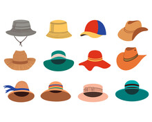 A Set Of Summer Women's Hats. Summer And Spring Hats. Vector Flat Illustration