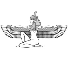 Animation Linear Portrait: Sitting Goddess Of Justice Maat. Profile View. Vector Illustration Isolated On A White Background. Print, Poster, T-shirt, Tattoo.