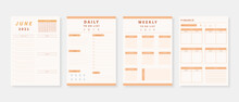 June 2021 - Planner. Modern Planner Template Set. Set Of Planner And To Do List. Monthly, Weekly, Daily Planner Template. Vector Illustration.
