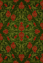 Oriental Green Pattern With Pomegranate.