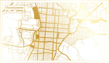 Guantanamo Cuba City Map In Retro Style In Golden Color. Outline Map.