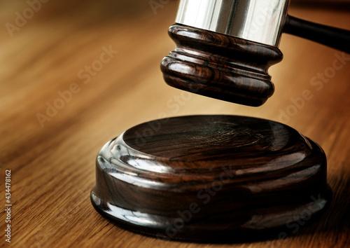 Closeup of gavel judgement concept Fototapeta