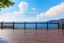 Wooden Observation Deck And Beautiful Sea Scenery.
