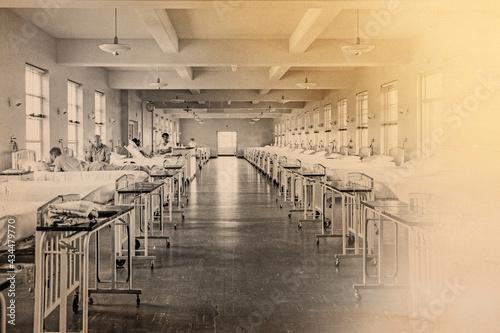 Billede på lærred Historical photograph of a field hospital during the Spanish Flu Pandemic in Eur