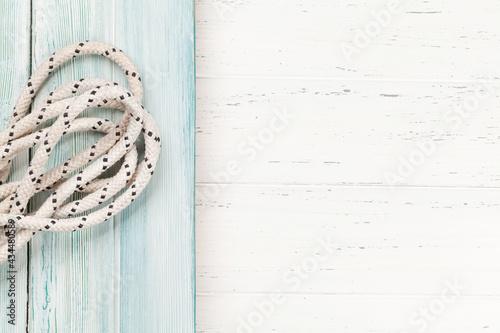 Boat rope on wooden deck Fototapet