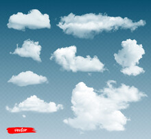 Set Of Clouds. 3d Realistic Vector Illustration Of Different Clouds On Transparent Background.
