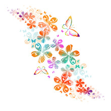 Abstraction With Colorful Cute Simple Flowers And Butterflies. Vector Illustration