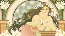Mucha Style Goddess Holding Freesia Leaning Beautiful Coloum
