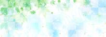 水面の波紋と映り込む青紅葉 涼しげな背景イラスト
