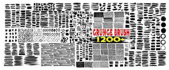 Grunge brush strokes. 1200+Brush strokes bundle. rectangle, square and round freehand drawings. Ink splatters, grungy painted lines, artistic design elements: circle, triangles. Vector paintbrush set.