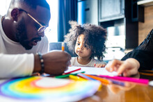 Cute Curly Afro Hair Girl Drawing With Her Dad Parents Positive Education Tolerance