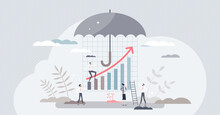 Risk Management As Business Finances Investment Control Tiny Person Concept. Secured Money Flow From Loss And Keep Profit With Company Development And Growth Vector Illustration. Economical Umbrella.