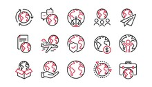 World Business Line Icons Set. Financial Transactions, Translate Language, Outsource Business. International Organization, Global Law, World Map Icons. Delivery Service, Global Outsource. Vector
