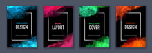 Watercolor Booklet Brochure Colourful Abstract Layout Cover Design Template Bundle Set With Black Background And Frame