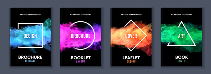 Watercolor booklet brochure colourful abstract layout cover design template bundle set with black background and geometric frame