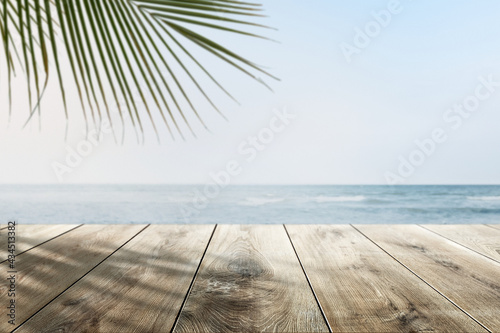 Beach Product Backdrop With Wooden Counter