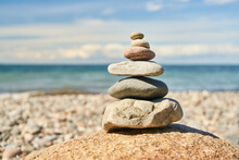 Stacked Stones As A Zen Meditation Concept On The Beach