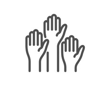 Voting Hands Line Icon. People Vote By Hand Sign. Public Election Symbol. Quality Design Element. Linear Style Voting Hands Icon. Editable Stroke. Vector
