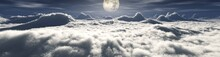 Moon Over The Clouds, Night Landscape With The Moon In The Clouds, Moonrise Over The Clouds, Panorama Of The Clouds At Night, 3D Rendering
