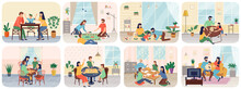 Happy Smiling People Adults And Children Sitting At Table And Playing Board Or Tabletop Games Together. Home Leisure Activity For Friends Or Family Members Parents And Kids. Parenting And Daycare