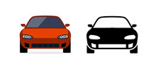Car Front View Vector Flat Icon. Car Parking Cartoon Front Design Shape Black Icon