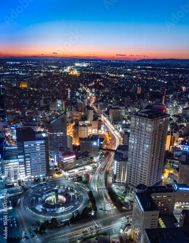 Canvas Print 静岡県浜松市の夜景と夕日