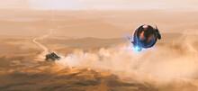 Alien Tracker Chases Humans In The Desert, Digital Painting, 3D Illustration.
