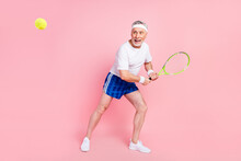 Full Length Body Size Photo Grandpa Threw Ball With Racket On Championship Playing Tennis Isolated Pastel Pink Color Background