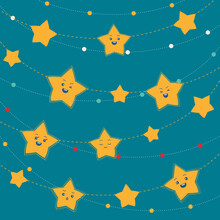 Beads And Garlands Of Stars On A Blue-green Background.  Stars With Faces And Emotions.