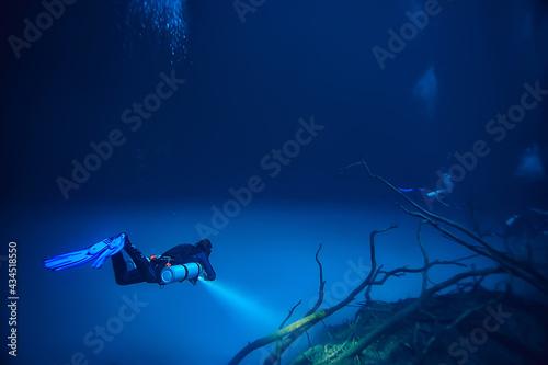 cenote angelita, mexico, cave diving, extreme adventure underwater, landscape un Tapéta, Fotótapéta