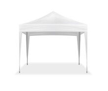 Pop-up Canopy Tent, Realistic Vector Mock-up. Exhibition Outdoor Show Pavilion, Mockup. White Event Marquee, Template For Design
