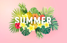 Summer Tropical Vector Design For Banner Or Flyer With Exotic Palm Leaves, Hibiscus Flowers And Typography.