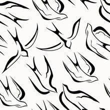 Seamless Black And White Pattern With Swallows, Natural Texture. Vector Background For Design.