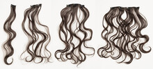 Multiple Pieces Clip In Wavy Auburn Synthetic Hair Extensions