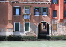 Typical Venetian Houses With The I Do On The Navigable Channel Is Under Porch That Leads To Other Small Narrow Alleys