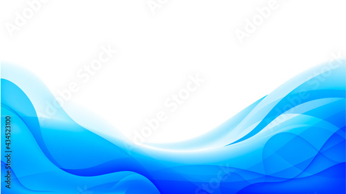 Foto Vector wavy abstract geometric background, blue flow hoizontal banner