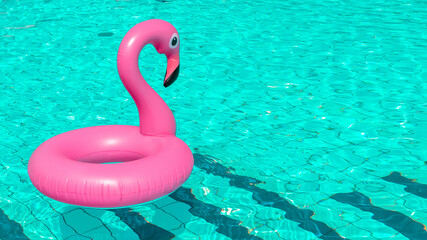 Summer holiday poster. Pink inflatable flamingo in pool water for summer beach background. Funny bird toy for kids.