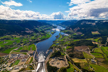 View Of The River And Mountains, Sunny Day, Sheep Clouds, Green Fields, Blue Water In Norway, Dji Air2s Gudbrandsdal Norway Faavang Fåvang