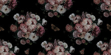 Luxurious Baroque And Victorian Bouquet Seamless Pattern. Beautiful Garden Flowers And Butterfly On Black Background. Pink And White Peonies, Roses. Floral Decoration Advertising Material