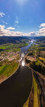 View Of The River And Mountains, Sunny Day, Sheep Clouds, Green Fields, Blue Water In Norway, Vertical Panorama, Dji Air2s Gudbrandsdal Norway Faavang Fåvang