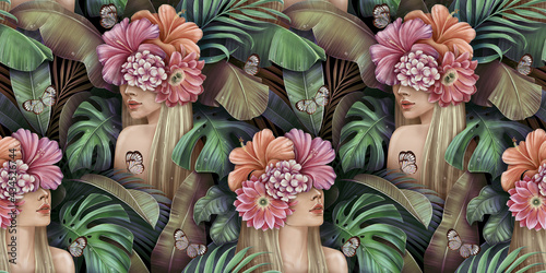 Obraz na plátně Tropical seamless pattern with beautiful blonde women, bouquets of hibiscus, plumeria, cactus flowers, monstera, palm, banana leaves, butterflies