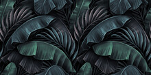 Tropical Exotic Seamless Pattern With Neon Light Color Banana Leaves, Palm On Night Dark Background. Premium Hand-drawn Textured Vintage 3D Illustration. Good For Luxury Wallpapers, Fabric Printing