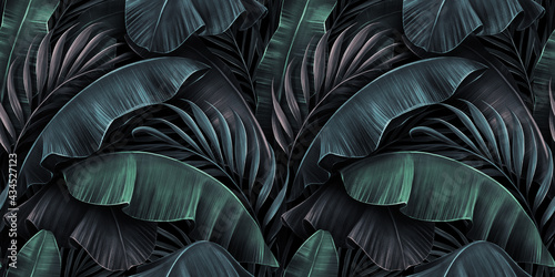 Fotografia Tropical exotic seamless pattern with neon light color banana leaves, palm on night dark background